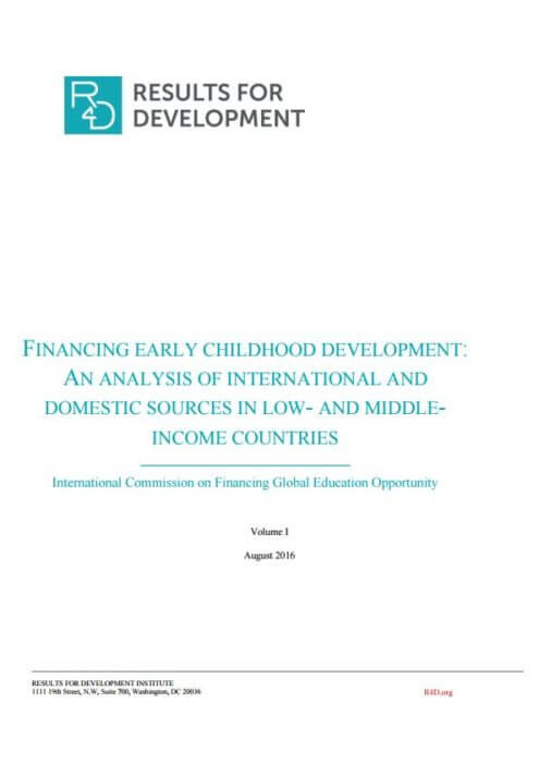 Financing Early Childhood Development report