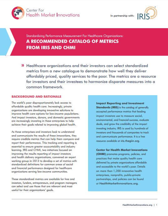 IRIS-CHMI Health Metrics | Results for Development