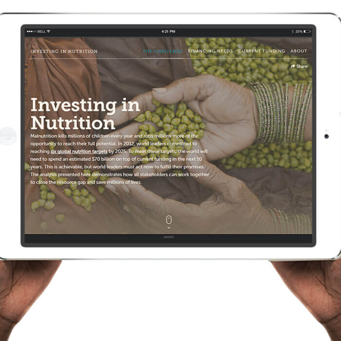 InvestInNutrition.org on iPad