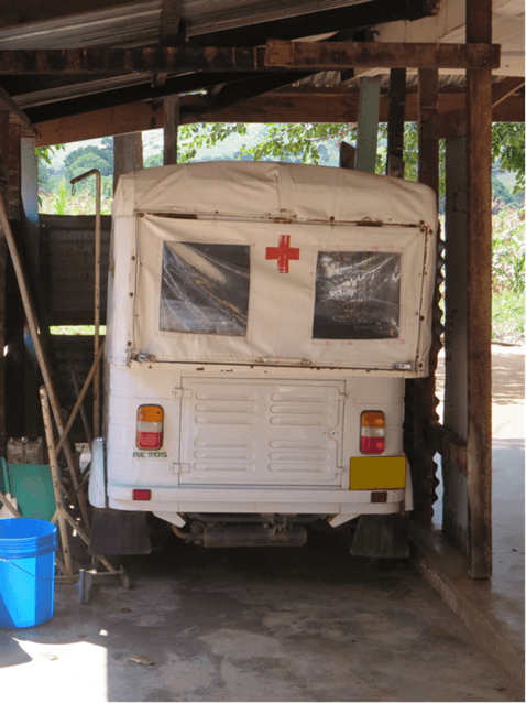 An ambulance photographed outside a dispensary in Tanzania during the Transparency for Development program.