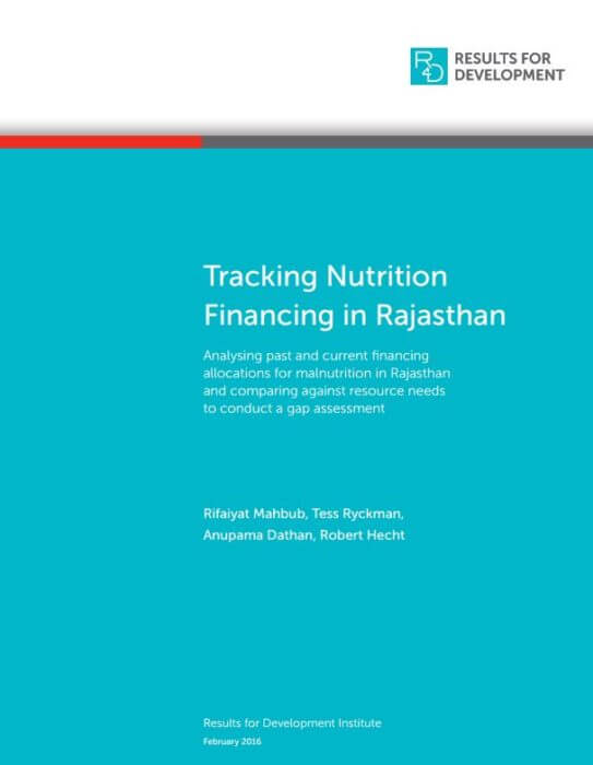 TrackingNutritionFinancingRajasthan
