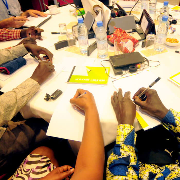 Key players in childhood education discuss new strategies in early stage learning at a workshop organized by the Center for Education Innovations in Dakar, Senegal.